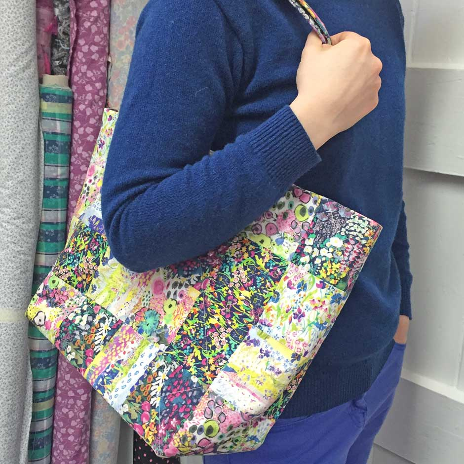 Liberty Patchwork Tote Bag - modelling