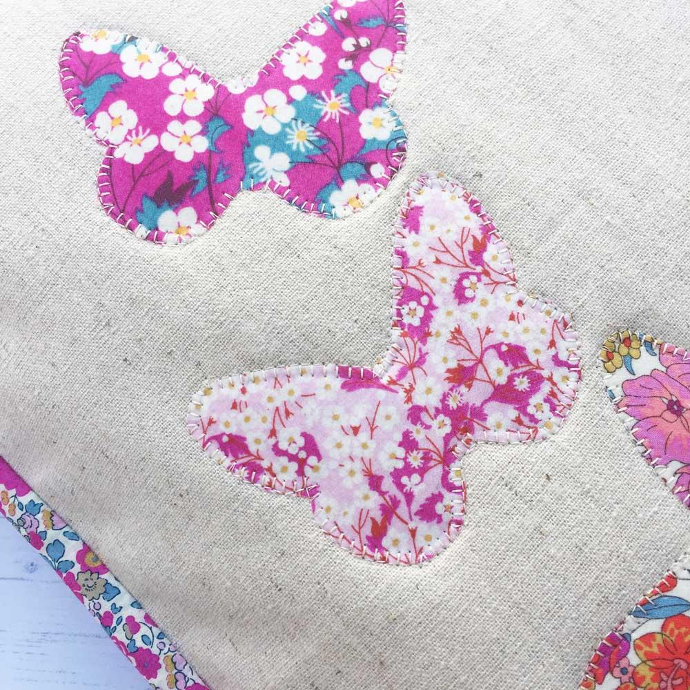 Beautiful Liberty butterfly cushion - raw edge appliqué detail