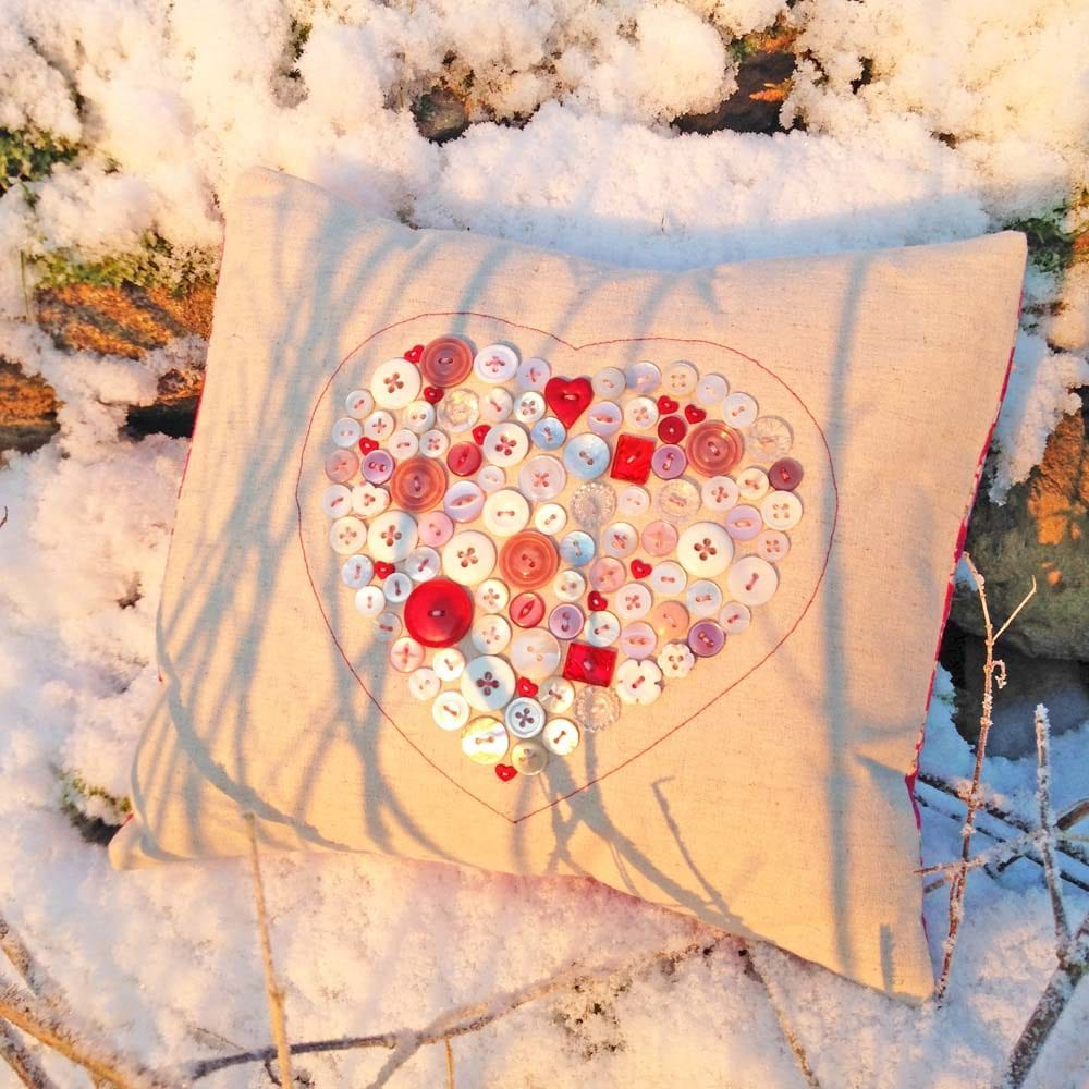 Valentine Button Heart Cushion