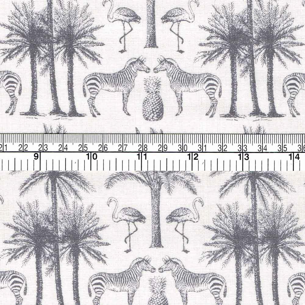 Fern Garden Cotton Fabric  Fat Quarter Makower Pineapple Grey